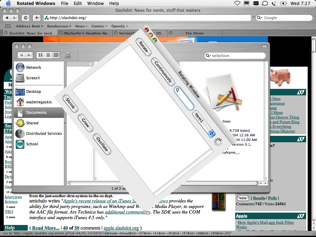 Rotated Windows example screenshot