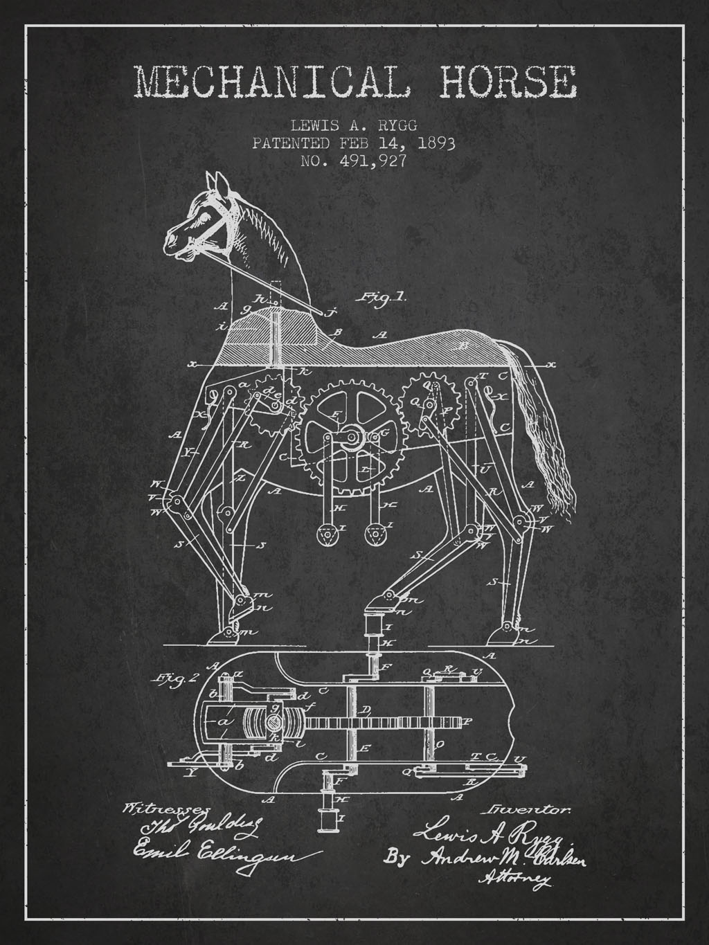 A vintage Mechanical Horse Patent Drawing From 1893 on Dark grunge background.