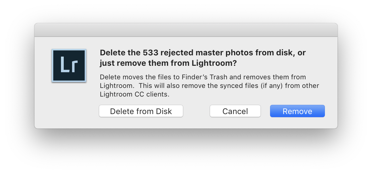 Screen shot of Lightroom dialog asking if you want to actually delete rejected photos, or merely lose track of them