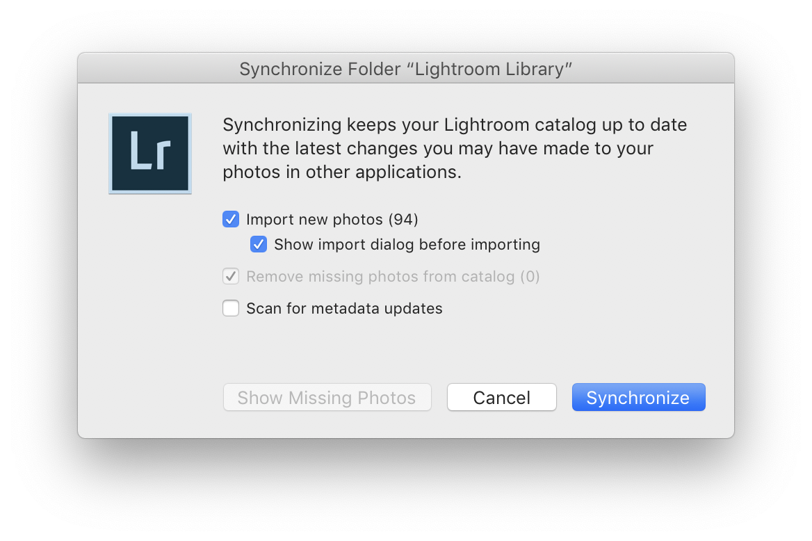 "Screenshot of the ""Synchronize Folder"" dialog"